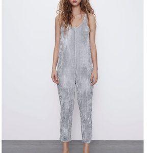 Zara Textured Striped Jumpsuit Black White Sz.L